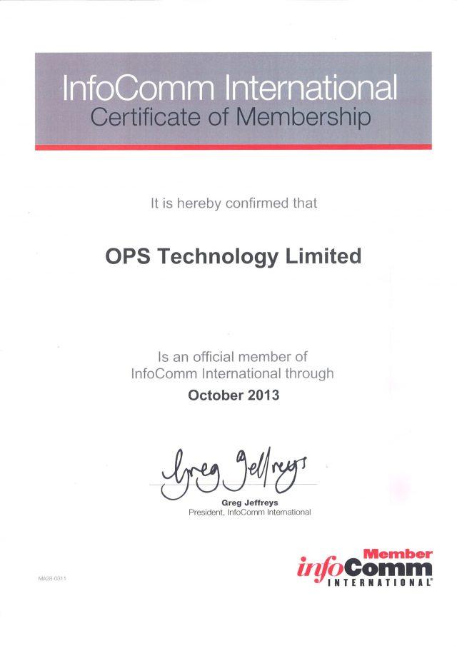 InfoComm International Certificate of Membership
